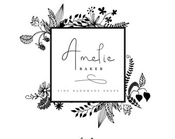 Premade Logo Design | 'Amelie' | Illustrated Logo | Photography Logo | Blog Header | Business Branding | Branding Design | Custom logo| Logo