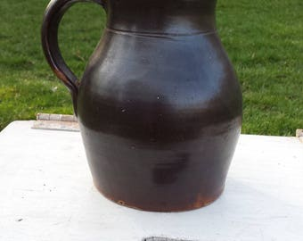 Vintage Primitive Brown Clay Pitcher, Folk Water Pitcher, Farmhouse, Rustic, Country, Kitchen Decor