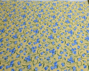 Summer Breeze III-Bluebells on Yellow Cotton Fabric from Moda