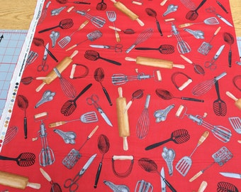 Kiss the Cook-Red Cotton Fabric from Robert Kaufman
