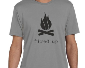 Fired Up - Mens Graphic Tee, Campfire, T-shirt, Mens Screen Printed Tee