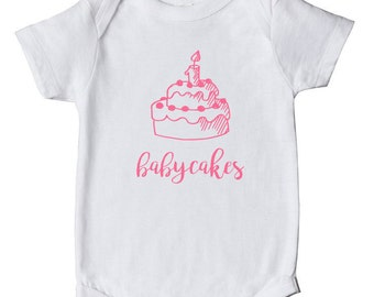 Babycakes - Baby Bodysuit, Nickname, Baby Clothes, Baby Shower Gift - White With Pink Or Blue Print