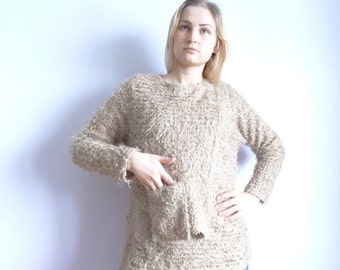 Sale Vintage Beige Sweater Women/Sweater with round neck/ Double Front Pockets With/Knitted Synthetic Jacket