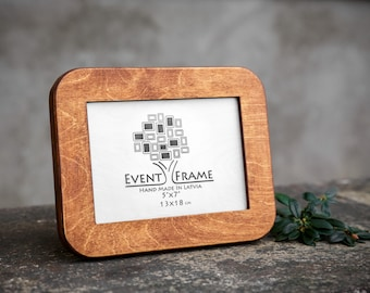 5x7 Picture Frame, 13x18 cm Unique Design Photo Frame from Natural Baltic Birch Plywood, BROWN color, TABLET STYLE