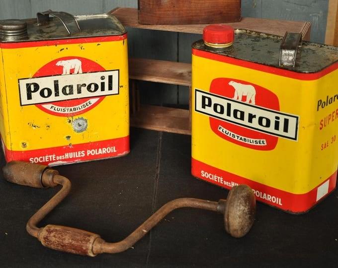 Polaroil motor oil cans and Pistolux enamel paint
