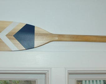 Hand Painted Decorative Canoe Paddle Oar Wall Art - The Magpie- wood canoe paddle, nautical, decor, rustic, lake,decor,wall hanging