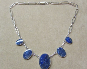 Beautiful Lapis STERLING silver tapering necklace .
