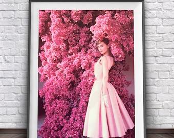 Audrey Hepburn Print • Pink Dress Retro Poster Audrey Hepburn Wall Art Pink Tree Rose Pink Art Audrey Hepburn Pink Poster Audrey Hepburn Art