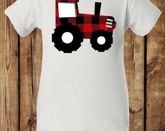 Lumberjack Plaid Tractor Onesie, Sizes available Newborn-24 months