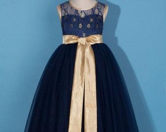 Flower girl dress/Lace and tulle flower girl dress/Pageant dress/Communion dress/Navy blue lace dress/Navy blue tulle dress/Navy flower girl