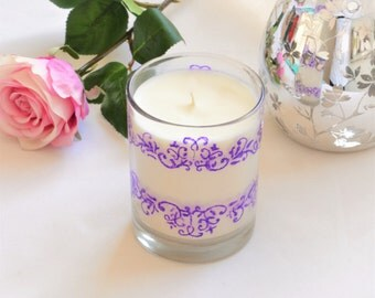 Clearance, Coconut Candle, Scented Candle, Unique Candles, Hand Painted, Gift for Her, Gift for Women, Hand Poured Candles, Purple Decor