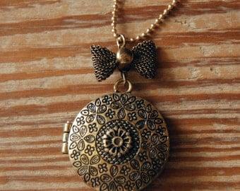 Long Statement Locket Necklace - Antique Finish