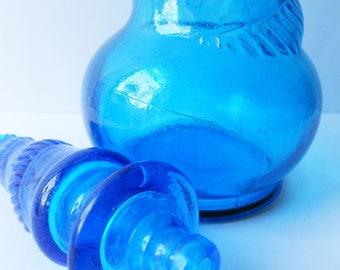 Vintage Blue Glass Genie Bottle, French, Tall Sapphire Blue 1960s Kitsch Bathroom Storage