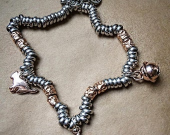 "925 Silver bracelet 925 Silver Nuggets hammered Rosé, washers, charms ""cat"" ""Star"" ""small bell"" 925 Silver rose wine"