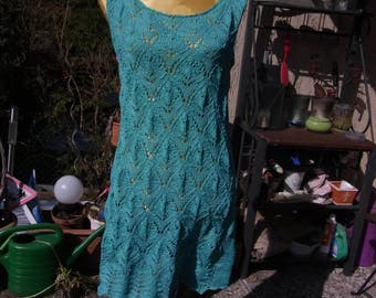 Turquoise green knit dress, Gr. 36-38 (S M), Ajour pattern