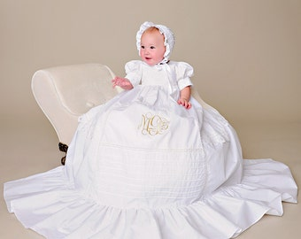 Margaret Victorian Christening Gown, Cotton Christening Gowns, Blessing Dress, Cotton Baptism Dress, Vintage Style Baby Gown