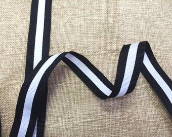 "15 Yards 25mm(1"") Polyester Grosgrain Striped Ribbon Tape Black/White/Black, DIY Clothing Hairband Decorations Gift Wrapping Ribbon Supplies"