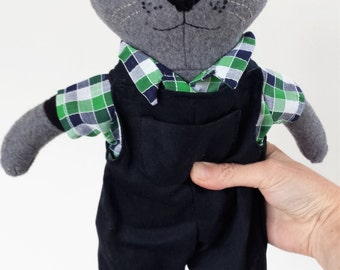 Rag Doll Cat, Stuffed Animal Rag Doll, Grey and Black Cat, Modern Plushie, Matthias
