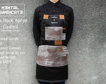"The Hack Apron ""Coated"" Denim and Waxed Canvas''Limestone''/Barista Apron/Bartender Apron/Chef Apron/Barber Apron/Tattoo Apron/Custom Apron"