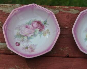 German Bowl, Pink White Porcelain, OG, Maker Mark,