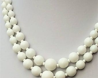 Double Strand Milk Glass Necklace. Wedding. Bride. Fashion. Style