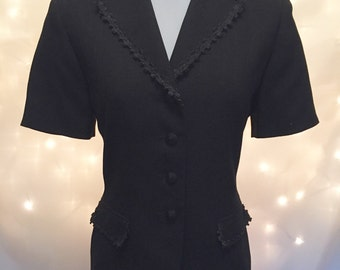 Vintage Fit Structured Black Blazer Top Blouse with Embellished Trim and Short Sleeves