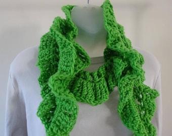 Crocheted Lime Green Ruffled Scarf