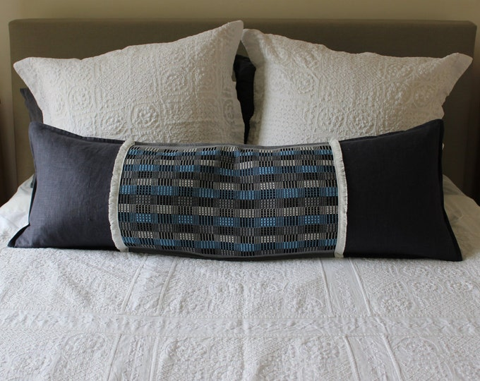 Long Pillow featuring Guatemalan Grey & Blue Square Pattern with Eco Friendly Linen and White Fringe