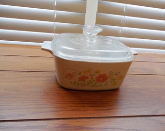 SALE Vintage Wildflower Corningware Casserole Dish w/ Glass Lid - 1.5QT A-1 1/2-B with A7C Lid
