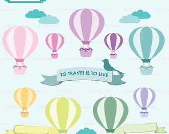 Hot Air Balloon Clipart, Travel and Wanderlust, Clipart, Baby Shower, Commercial Use, Vector, Digital Stamps, Commercial use