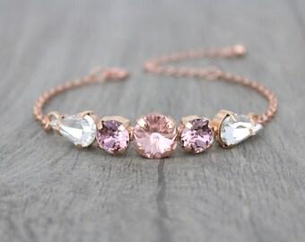 Rose Gold bracelet, Crystal Bracelet, Bridesmaid bracelet, Wedding jewelry, Blush crystal bracelet, Bangle bracelet, Simple Wedding bracelet