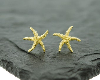 925 Sterling Silver Starfish Studs Earrings, Gold Starfish, Rose Gold Starfish