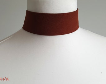 Choker necklace 4 cm wide retro brown gold