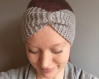 Boho bow headband in silver, ear warmer