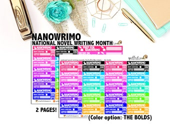 NaNoWriMo Writing Stickers, Write a Book in a Month National Novel Writing Month, ECLP Erin Condren