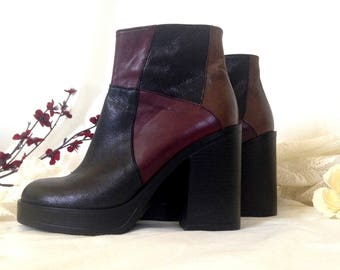 NEVER WORN Vintage, 90s Heeled Boots, Size 6, Platform, Multicolored, Deadstock Boots, Patchwork Leather, Genuine Leather, Chunky Heel Boots