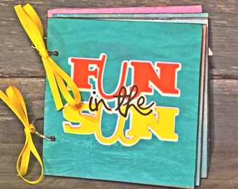 Fun in the Sun Mini Scrapbook, Beach Album, Pre-made Scrapbook Album, Vacation Album, Travel Scrapbook, 6x6 Mini Album, Photo Album