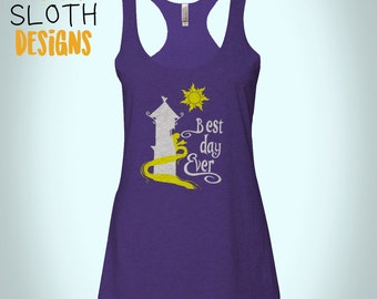 Best Day ever tangled repunzel Disney Women racerback tank top Fitness tank, work out Yoga burn out tank top