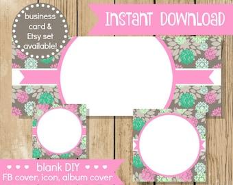 Blank DIY Facebook Set - Grey Pink Flower - Do It Yourself Blank Facebook Cover - Pink Grey Blank Facebook Set Banner - INSTANT DOWNLOAD