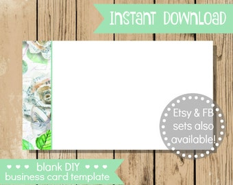 Blank DIY Business Card - Music Note Flower - Do It Yourself Blank Business Card Template - Floral Blank Business Card - INSTANT DOWNLOAD