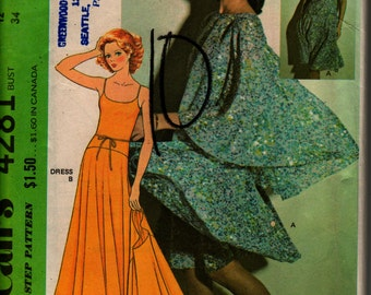 "McCall's Dress Pattern 4281 size 12, bust 34"" 1974, Halston Dress and Capelet, pattern complete and unused"