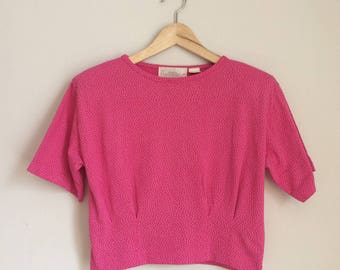 Crop top t-shirt, 80s, slouchy fit, polkadots, S, *vintage*