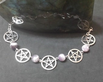 Bracelet Amethyst pentacles, witch, charms, wicca, wiccan jewelry, paganism, pagan jewelry
