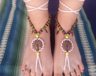 Barefoot sandals, boho, hippie, tibetan silver, jewelry barefoot, jewelry belly dancing, tribal