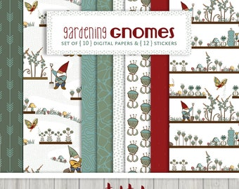 Gardening Gnomes Digital Scrapbooking Paper Collection { Set of 10 } in Red, Teal and Khaki, and { 12 } Digital Embellishments