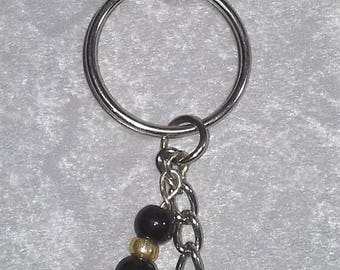 Fleur-de-lis Keychain or Purse Charm with Black & Gold beads - One of a Kind! Handmade - Free Shipping