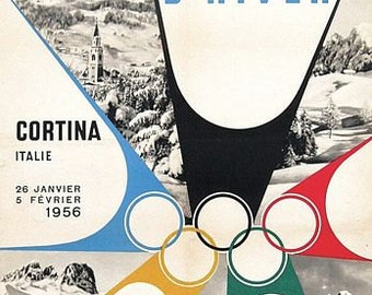 Vintage 1956 Cortina Italy Winter Olympics Poster A3 Print