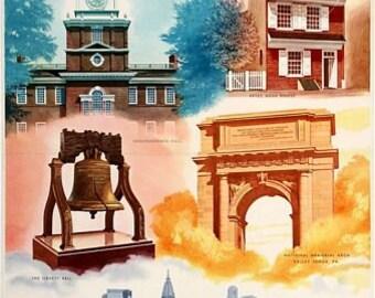 Vintage Philadelphia Tourism Poster  A3 Print