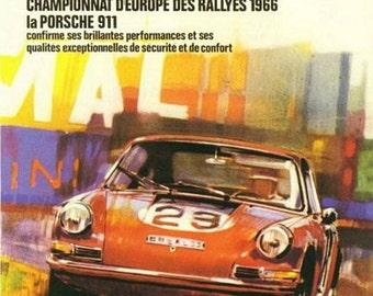 Vintage 1966 Porsche 911 Motor Racing Poster  A3 Print