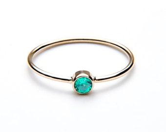 EMERALD RING - may birthstone - may birthstone ring - emerald birthstone ring - 14k emerald ring - solid gold may birthstone ring